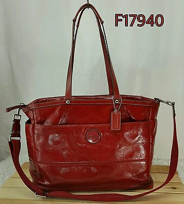 COACH XL RED Signature Stitched Patent Leather Diaper Bag Travel Bag F17940