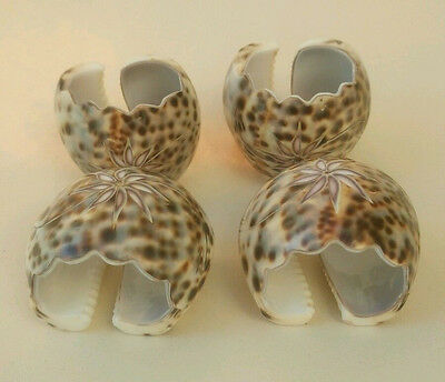 Vintage Napkin Rings Carved Tiger Cowrie Shell Set of Four