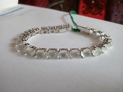 Solid 925 Sterling Silver Gem Stone Natural MoonStone Bracelet Jewelery