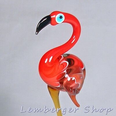 Figurine flamingo handmade of COLORED GLASS ! 17 cm height NOT PAINTED Ornament