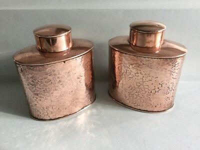 Pair Of Vintage Henry Loveridge & co Arts And Crafts Copper Tea Caddy's