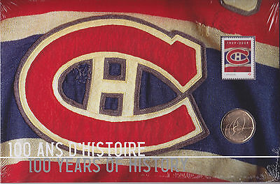 2009 NHL Montreal Canadiens 100th Anniversary $1 Dollar Coin and Stamp Set