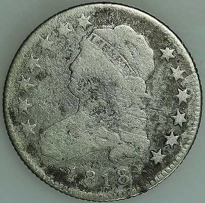 1818 Bust Quarter! Vg Details! 25C! Us Coin Lot #1362