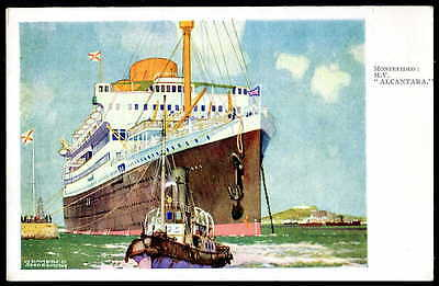 """KENNETH SHOESMITH art.""""ALACANTARA"""" at MONTEVIDEO. Royal Mail Lines official 1932"""