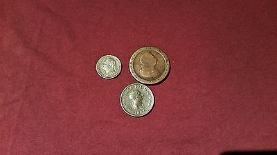 Cartwheel Penny, 1806 Half penny and 1822 Farthing.