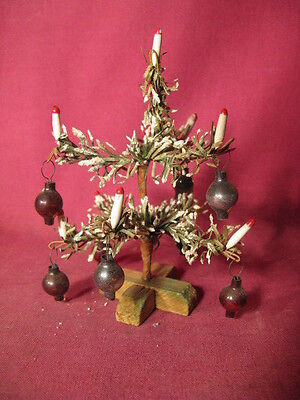 Great Antique Miniature German Feather Christmas Tree w Glass Balls & Candles #2