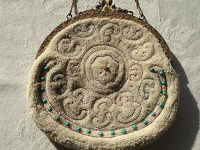Vintage Victorian Micro Beaded & Embroidered Handbag Purse Excellent Cond