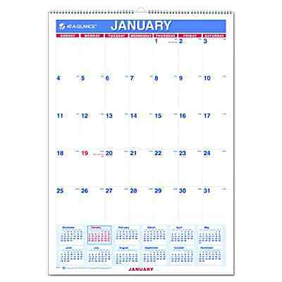 AT-A-GLANCE Monthly Wall Calendar with Ruled Daily Blocks 12 x 17 White 2017 .