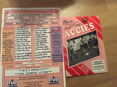1996 Hamilton V Dundee Programme And Teamsheet