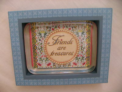 """""""FRIENDS ARE TREASURES"""" Contemporary GLASS PAPERWEIGHT"""