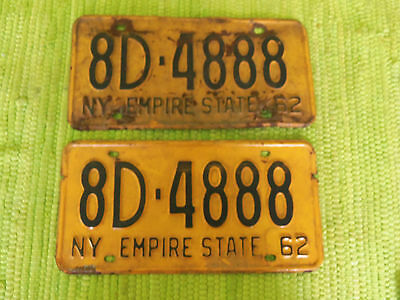 1962 New York License Plates Matched Pair NY Tag 8D-4888 Plate