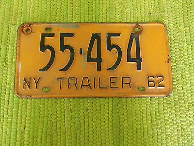 1962 New York Trailer License Plate 62 NY Tag 55-454