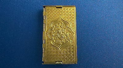 Antique Victorian Brass Sewing Folding Needle Case 7/10 Needles