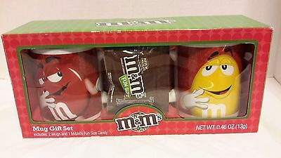 M&M's Red & Yellow Mug Gift Set with Fun Size Candy NEW