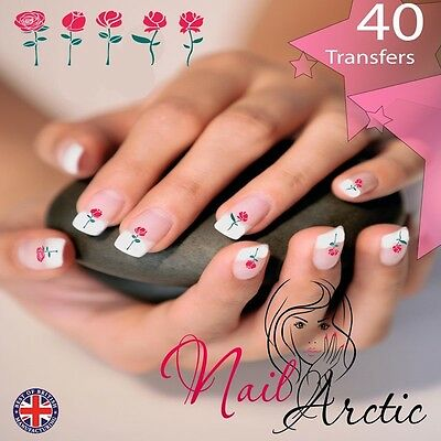 40  x Roses Valentines Nail Art Sticker Water Decals Transfer Stickers Tips