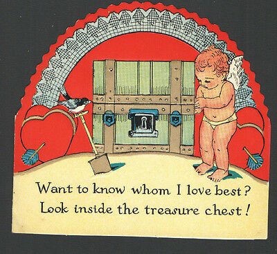 Vintage Valentines Day Card UnUsed Cupid Old Pirates Chest in Sand Printed US Am