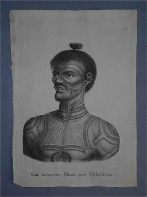 Old Lithograph Print PACIFIC OCEANIC MARQUESAS NUKAHIWA TATTOOED WARRIOR