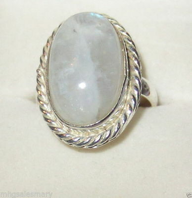 Moonstone Ring in Sterling Silver Size 9