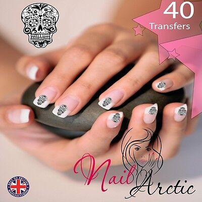 Gothic Skull nail Wraps Water Transfers Decal Art Stickers x 40