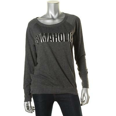 Ideology 5781 Womens Gymaholic Gray Open Back Graphic Pullover Top Shirt S BHFO