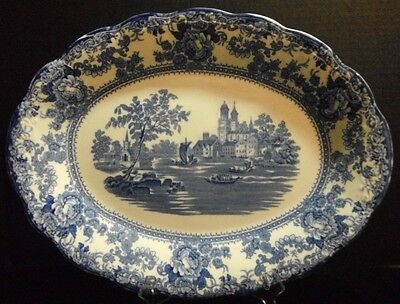 Colonial Pottery Platter England Flow Blue & White TOGO Transferware Embossed