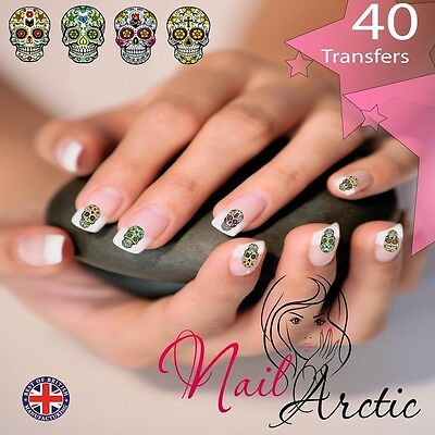 40  x Candy Skull Nail Art Sticker Water Decals Transfer Stickers Tips