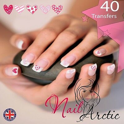 Valentines Hearts Gr3 Nail Art Sticker Water Decals Transfer Stickers Tips x 40