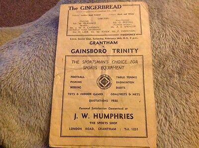Grantham Town v Gainsborough Trinity Lincolnshire County Cup 24th February 1951
