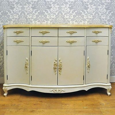 French Vintage Style Shabby Chic Ivory Cream Painted Wooden Sideboard Dresser