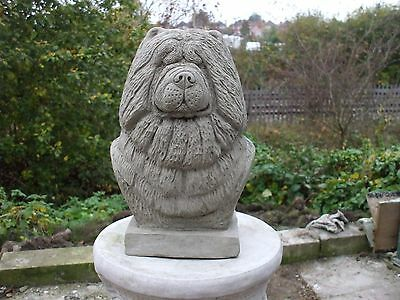 Big Stone Chow Chow Dogs  Head Bust Sculpture