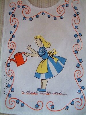 Genuine vintage early 60s BABY BIB - girl with watering can - also suit big doll
