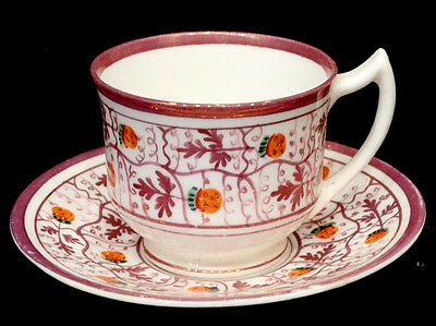 ANTIQUE Vintage ROYAL CHELSEA Hand Painted STRAWBERRY LUSTRE China Cup & Saucer