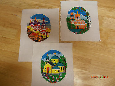x 3 Completed Cross Stitch , Church