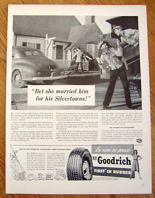 1942 B F Goodrich Tire Ad  Married him for Silvertowns