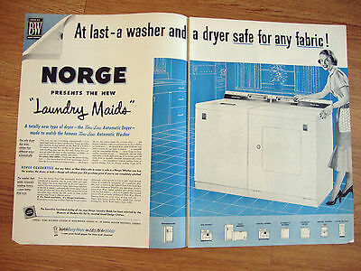 1953 Norge Washer Dryer Ad  Presents the New Laundry Maids