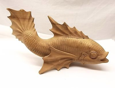 "Vtg Hand Carved Wood Japanese Koi Carp Statue Figurine 11.25"" Long Luck Fish"
