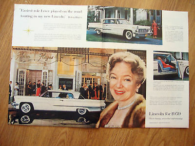 1959 Lincoln Premiere Coupe Ad Actress Helen Hayes 1959 Mercury Wagons Ad