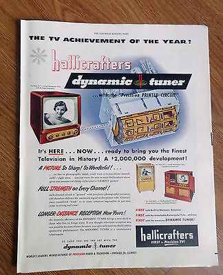 1950 Hallicrafters Dynamic Tuner TV Television Ad