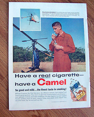 1958 Camel Cigarette Ad Dick Peck One Man helicopter Pilot