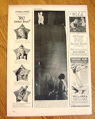 1948  RC Royal Crown Cola Ad Hollywood Movie Star Jeanne Cagney