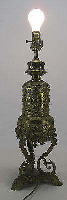 Antique French Aesthetic Gagneau d'Enghien Brass Electrified Table Oil Lamp! yqz