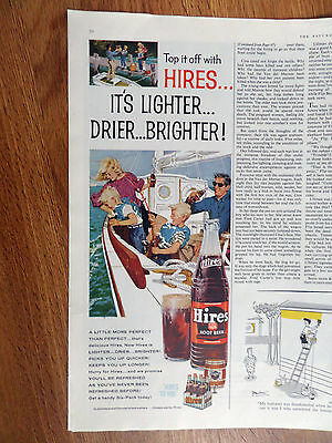 1960 Hires Root Beer Ad Family Fishing Boat Theme
