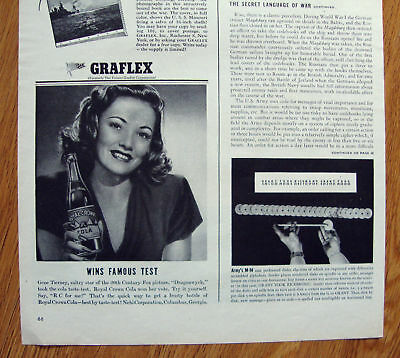 1945 RC Royal Crown Cola Ad Movie Star Gene Tierney
