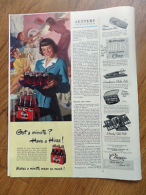 1948 Hires Root Beer Ad  Children having a Pillow Fight Sleep Over Party