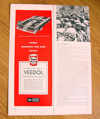 1952 Veedol Motor Oil Ad Two Place Astra Coupe