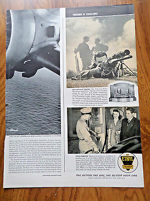 1941 Ethyl Gasoline Ad Critchfield Trophy National rifle Matches Camp Perry Ohio