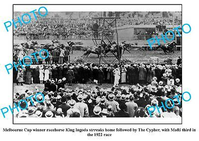 Old Large Photo, 1922 Melbourne Cup, King Ingoda Winning Post