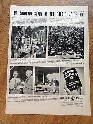 1950 Royal Triton 76 Oil Ad Chevrolet Buick Olds ?