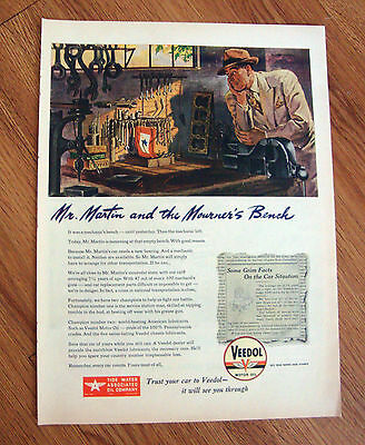 1945 Veedol Motor Oil Ad The Mourne's Bench 1945 A & P Super Markets Ad