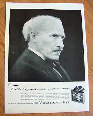1946 RCA Victor Records Ad Conductor Toscanini Conducts Beethoven's 5th